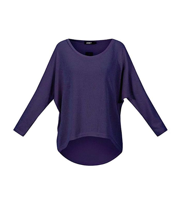 Flattering in front, butt-concealing in back. This sweater's got you covered! (Photo: Amazon)