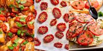 """<p>Tomatoes are quite frankly the ultimate fruit (<a href=""""https://www.delish.com/uk/food-news/a33009719/is-tomato-a-fruit/"""" rel=""""nofollow noopener"""" target=""""_blank"""" data-ylk=""""slk:yes, they're a fruit people"""" class=""""link rapid-noclick-resp"""">yes, they're a fruit people</a>). They're packed with loads of flavour and are pretty much used in every kind of cuisine. We're talking <a href=""""https://www.delish.com/uk/cooking/recipes/g32250336/mexican-recipes/"""" rel=""""nofollow noopener"""" target=""""_blank"""" data-ylk=""""slk:Mexican"""" class=""""link rapid-noclick-resp"""">Mexican</a>, <a href=""""https://www.delish.com/uk/cooking/recipes/g32460371/chinese-recipes/"""" rel=""""nofollow noopener"""" target=""""_blank"""" data-ylk=""""slk:Chinese"""" class=""""link rapid-noclick-resp"""">Chinese</a>, <a href=""""https://www.delish.com/uk/cooking/recipes/g33665621/italian-starters/"""" rel=""""nofollow noopener"""" target=""""_blank"""" data-ylk=""""slk:Italian"""" class=""""link rapid-noclick-resp"""">Italian</a> and more. They're used as the base ingredient in plenty of <a href=""""https://www.delish.com/uk/cooking/recipes/g32670587/tomato-pasta-recipes/"""" rel=""""nofollow noopener"""" target=""""_blank"""" data-ylk=""""slk:Tomato Pasta Recipes"""" class=""""link rapid-noclick-resp"""">Tomato Pasta Recipes</a> and make up the majority of most <a href=""""https://www.delish.com/uk/cooking/recipes/g32997531/summer-salads/"""" rel=""""nofollow noopener"""" target=""""_blank"""" data-ylk=""""slk:Summer Salads"""" class=""""link rapid-noclick-resp"""">Summer Salads</a>. It's fair to say we're big fans. </p><p>But, it can be easy to fall into the trap of using them for the same type of meal over and over again. So, if you've hit a recipe wall and are in need of some tomato-inspiration, we've got you covered over 60 recipes for you to check out for yourself. </p><p>PSA: You can't beat a <a href=""""https://www.delish.com/uk/cooking/recipes/a30165416/best-bruschetta-tomato-recipe/"""" rel=""""nofollow noopener"""" target=""""_blank"""" data-ylk=""""slk:Classic Bruschetta"""" class=""""link rapid-noclick-resp"""">Classic Bruschetta</a>!</p>"""