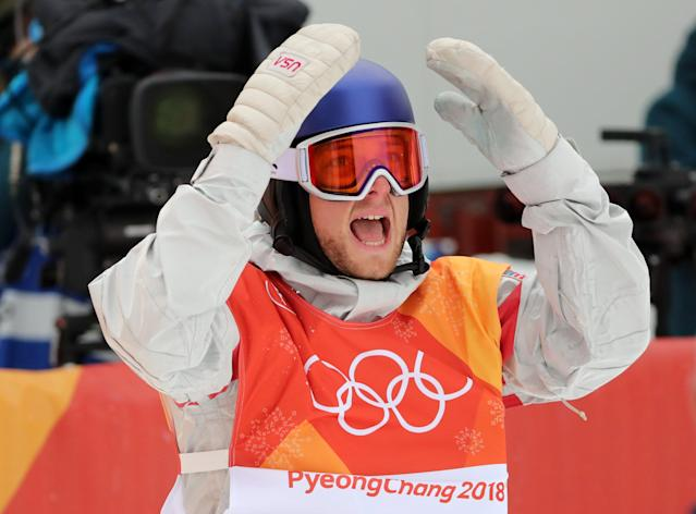 <p>Fellow American Ben Ferguson fell on his opening run, but rebounded to finish fourth with a 90.75. REUTERS/Mike Blake </p>