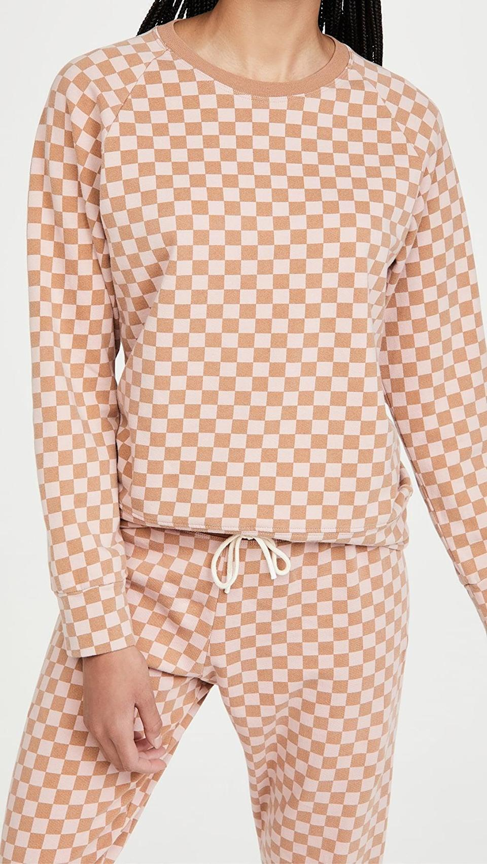 "<p>""Like I mentioned, I've been stocking up on neutral sets, and I love how this <span>Splits59 Tilda French Terry Sweatshirt</span> ($124) and <span>Splits59 Charlie French Terry Sweatpants</span> ($124) give the look some texture with the checkered print."" </p>"