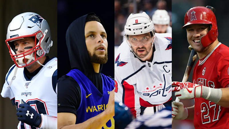 Tom Brady, Stephen Curry, Alexander Ovechkin e Mike Trout (Getty Images, Yahoo Esportes)