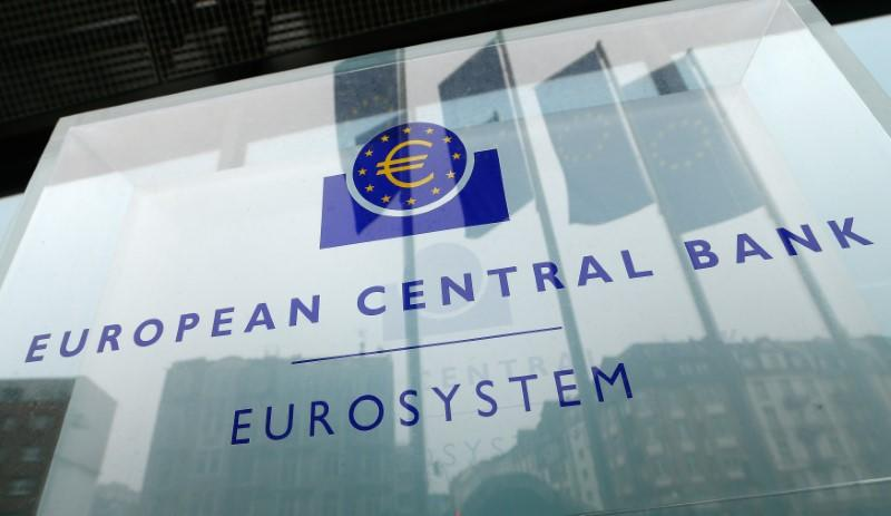 The logo of the European Central Bank is pictured outside its headquarters in Frankfurt