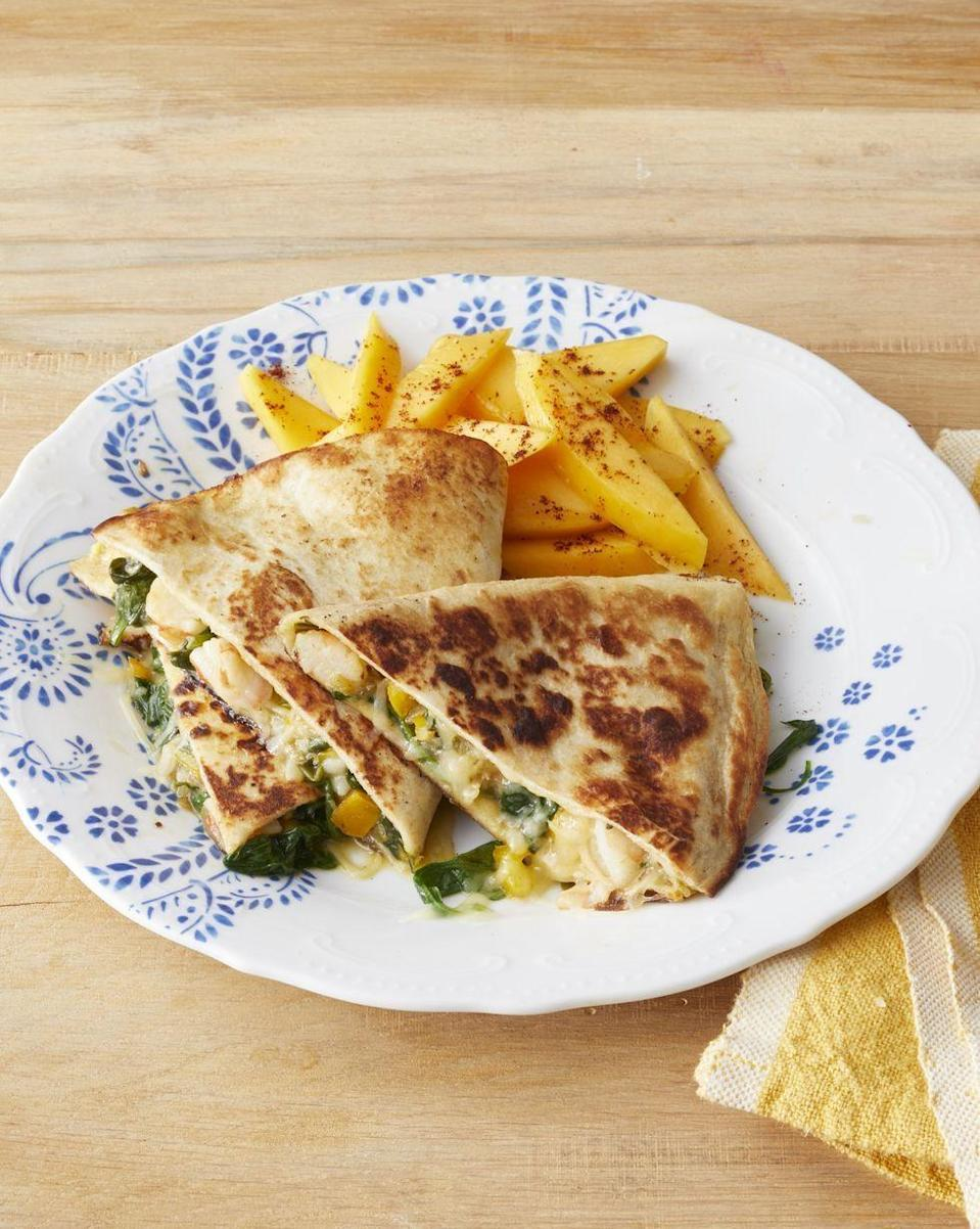 """<p>Feed a seafood-loving crew these shrimp quesadillas for a delicious Super Bowl meal. </p><p><strong><a href=""""https://www.thepioneerwoman.com/food-cooking/recipes/a32418408/shrimp-and-veggie-quesadillas-recipe/"""" rel=""""nofollow noopener"""" target=""""_blank"""" data-ylk=""""slk:Get the recipe."""" class=""""link rapid-noclick-resp"""">Get the recipe.</a></strong></p><p><strong><a class=""""link rapid-noclick-resp"""" href=""""https://go.redirectingat.com?id=74968X1596630&url=https%3A%2F%2Fwww.walmart.com%2Fbrowse%2Fhome%2Fthe-pioneer-woman-cookware%2F4044_623679_6182459_9190581&sref=https%3A%2F%2Fwww.thepioneerwoman.com%2Ffood-cooking%2Fmeals-menus%2Fg35049189%2Fsuper-bowl-food-recipes%2F"""" rel=""""nofollow noopener"""" target=""""_blank"""" data-ylk=""""slk:SHOP COOKWARE"""">SHOP COOKWARE</a><br></strong></p>"""