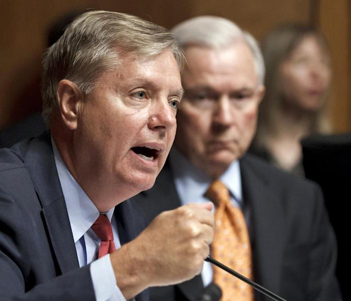 FILE - In this June 12, 2012 file photo, Sen. Lindsey Graham, R-S.C., speaks on Capitol Hill in Washington. Lawmakers headed home for a five-week break with a laundry list of uncompleted work and little to show for the past year and a half except an eye-popping amount of dissatisfaction _ nearly 80 percent of Americans are unhappy with them. The Republican-controlled House and Democratic-led Senate have set record lows for production and record highs for dysfunction. (AP Photo/J. Scott Applewhite, File)