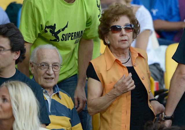 KIEV, UKRAINE - JULY 01: Mario Balotelli of Italy's parents Thomas Balotelli and Silvia Balotelli look on during the UEFA EURO 2012 final match between Spain and Italy at the Olympic Stadium on July 1, 2012 in Kiev, Ukraine. (Photo by Claudio Villa/Getty Images)