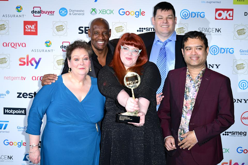 Anne Hegerty, Shaun Wallce, Jenny Ryan, Makr Labbett, and Paul Sinha with the award for Best Daytime Programme at the TRIC Awards 2019 50th Birthday Celebration held at the Grosvenor House Hotel, London. (Photo by Ian West/PA Images via Getty Images)