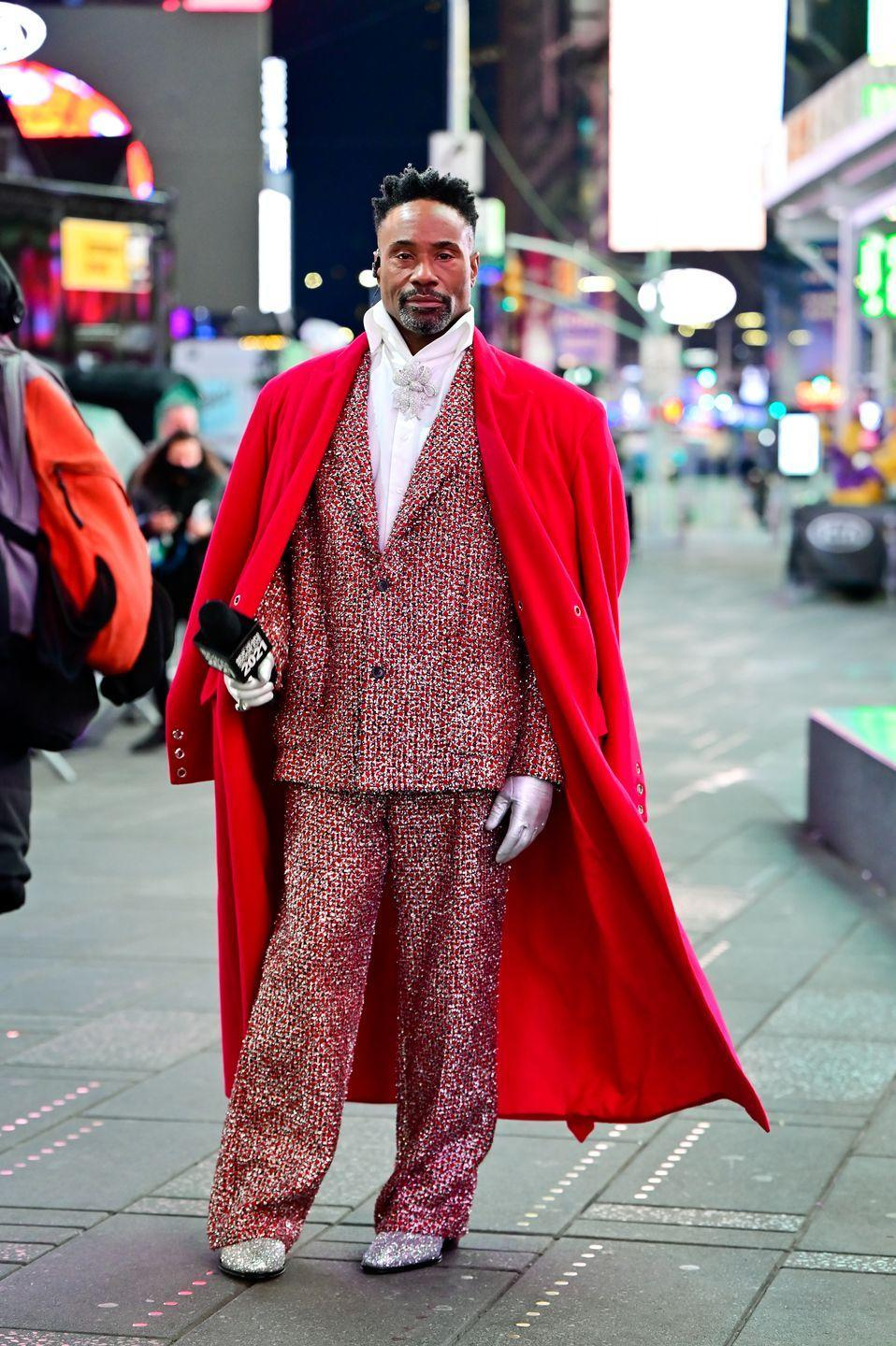 <p>The actor celebrated New Year's Eve in a Botter suit, a Ludovic de Saint Sernin coat, Giuseppe Zanotti shoes, Portolano gloves and a Lorraine Schwartz brooch. </p>