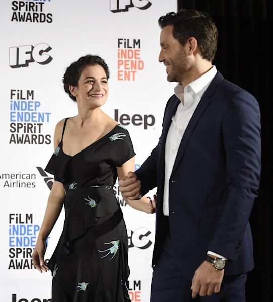Actress Jenny Slate, left, and actor Edgar Ramirez arrive onstage to announce the nominations for the 2017 Film Independent Spirit Awards at the W Hotel on Tuesday, Nov. 22, 2016, in Los Angeles. The annual film awards show will be held on February 25, 2017. (Photo by Chris Pizzello/Invision/AP)