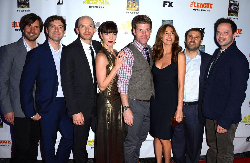 "The cast of ""The League"" arrives at the Premiere Screenings of FX's ""It's Always Sunny In Philadelphia"" Season 8 and ""The League"" Season 4 at ArcLight Cinemas on October 9, 2012 in Hollywood, California."