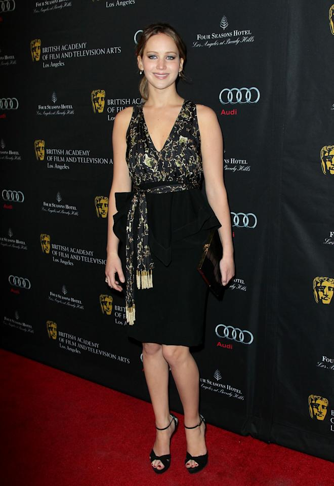 LOS ANGELES, CA - JANUARY 12:  Actress Jennifer Lawrence arrives at the BAFTA Los Angeles 2013 Awards Season Tea Party held at the Four Seasons Hotel Los Angeles on January 12, 2013 in Los Angeles, California.  (Photo by David Livingston/Getty Images)