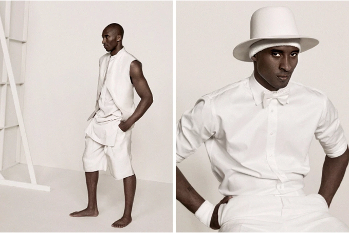 Kobe Bryant is a vision in white. (L.A. Times Magazine)