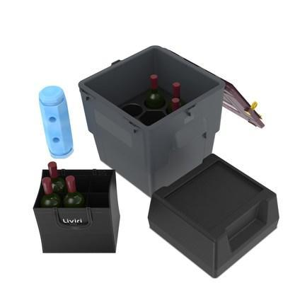 Liviri Vino is a premium, reusable and protective shipping solution for fine wine and alcohol in four- and six-bottle configurations. Precision padding keeps bottles secure and separated while reusable coolant inserts and industry-leading insulation provide a safe, temperature-stable environment inside the box to reduce weather shipment holds.