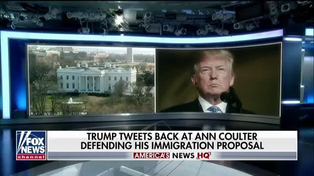 Trump tweets back at Ann Coulter defending his immigration proposal