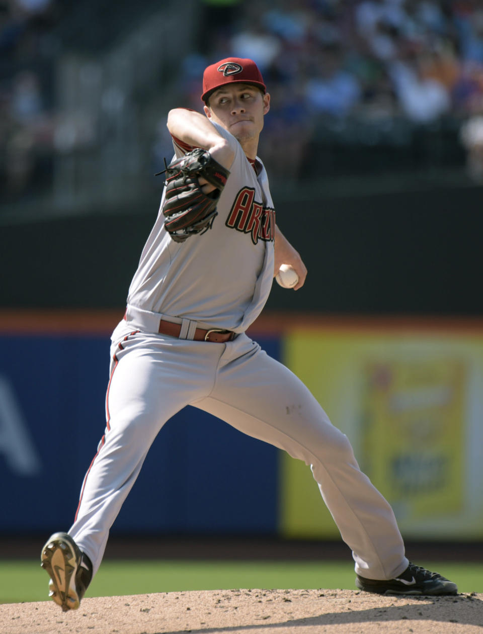 Arizona Diamondbacks pitcher Patrick Corbin delivers the ball to the New York Mets during the first inning of a baseball game Saturday, July 11, 2015, at Citi Field in New York. (AP Photo/Bill Kostroun)