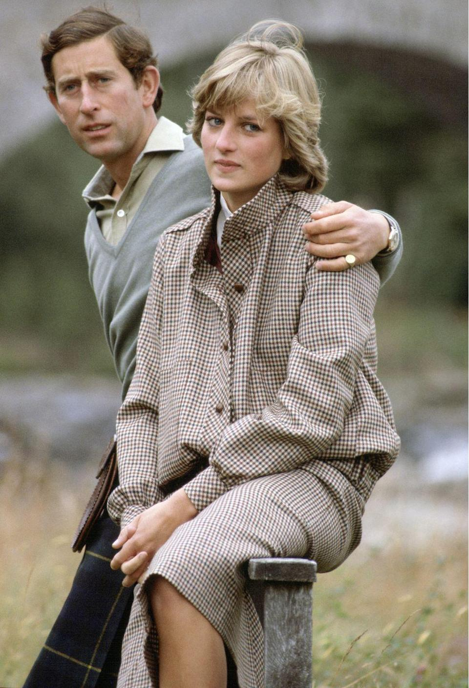 <p>Diana swapped her 25-ft David Emmanuel wedding gown for a tweed Bill Pashley suit while honeymooning in Scotland. </p>