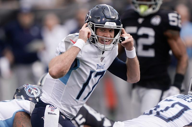 Dec 8, 2019; Oakland, CA, USA; Tennessee Titans quarterback Ryan Tannehill (17) signals to his teammates during the game against the Oakland Raiders during the first quarter at Oakland Coliseum. Mandatory Credit: Stan Szeto-USA TODAY Sports