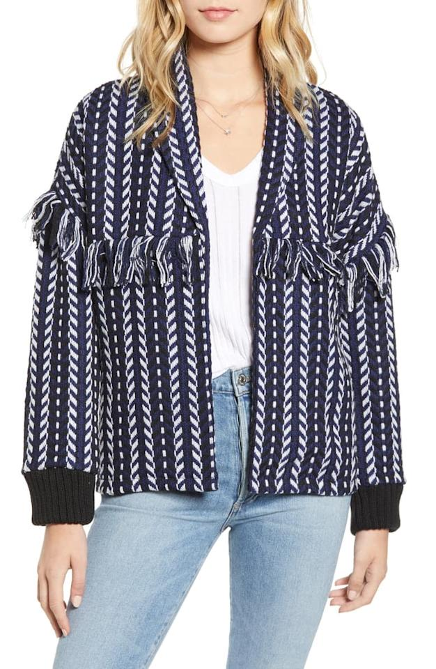 """<p>Throw on this <a href=""""https://www.popsugar.com/buy/Cupcakes-Cashmere-Tweed-Bomber-Jacket-475788?p_name=Cupcakes%20and%20Cashmere%20Tweed%20Bomber%20Jacket&retailer=shop.nordstrom.com&pid=475788&price=138&evar1=fab%3Aus&evar9=46424053&evar98=https%3A%2F%2Fwww.popsugar.com%2Ffashion%2Fphoto-gallery%2F46424053%2Fimage%2F46457179%2FCupcakes-Cashmere-Tweed-Bomber-Jacket&list1=shopping%2Cnordstrom%2Csummer%20fashion&prop13=mobile&pdata=1"""" rel=""""nofollow"""" data-shoppable-link=""""1"""" target=""""_blank"""" class=""""ga-track"""" data-ga-category=""""Related"""" data-ga-label=""""https://shop.nordstrom.com/s/cupcakes-and-cashmere-tweed-bomber-jacket/5389924?origin=category-personalizedsort&amp;breadcrumb=Home%2FWomen%2FNew%20Arrivals&amp;color=ink"""" data-ga-action=""""In-Line Links"""">Cupcakes and Cashmere Tweed Bomber Jacket </a> ($138) over a tee.</p>"""