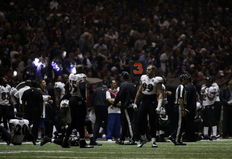 Baltimore Ravens players look around the Superdome after the lights went out during the second half of NFL Super Bowl XLVII football game Sunday, Feb. 3, 2013, in New Orleans. (AP Photo/Matt Slocum)