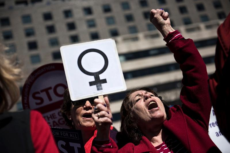 """President Donald Trump's """"global gag rule"""" cutting US funding to groups that offer abortion services and Russia's decision to ease punishment for domestic violence cast a long shadow on the annual gathering of the Commission on the Status of Women (AFP Photo/Brendan Smialowski)"""