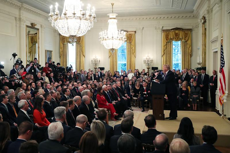 President Trump speaks at the White House one day after the Senate acquitted him on two articles of impeachment. (Mark Wilson/Getty Images)