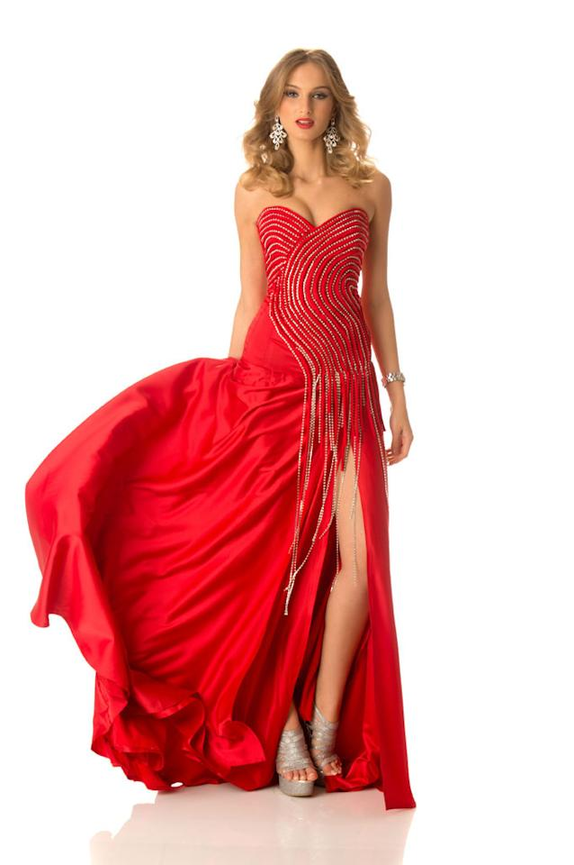 Miss Georgia 2012, Tamar Shedania, poses in her evening gown at Planet Hollywood Resort and Casino, in Las Vegas, Nevada. She will spend the next few weeks touring, filming, rehearsing, and making new friends while she prepares to compete for the coveted Miss Universe Diamond Nexus Labs Crown.