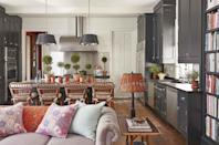 "<p>Dark, inky cabinetry asserts a cozy, lived-in feeling with the spacious combined kitchen and den in the <a href=""https://www.veranda.com/home-decorators/a30735972/caroline-gidiere-alabama-home-tour/"" rel=""nofollow noopener"" target=""_blank"" data-ylk=""slk:gracious Georgian-style home"" class=""link rapid-noclick-resp"">gracious Georgian-style home</a> of Alabama-based designer <a href=""https://www.carolinegidiere.com/"" rel=""nofollow noopener"" target=""_blank"" data-ylk=""slk:Caroline Gidiere"" class=""link rapid-noclick-resp"">Caroline Gidiere</a>. The stainless steel countertop seamlessly connects to the satin nickel hardware and appliances. The cabinetry is painted Off-Black by Farrow & Ball.</p><p><a class=""link rapid-noclick-resp"" href=""https://go.redirectingat.com?id=74968X1596630&url=https%3A%2F%2Fwww.farrow-ball.com%2Fen-us%2Fpaint-colours%2Foff-black&sref=https%3A%2F%2Fwww.veranda.com%2Fdecorating-ideas%2Fcolor-ideas%2Fg28700927%2Fkitchen-paint-colors%2F"" rel=""nofollow noopener"" target=""_blank"" data-ylk=""slk:Get the Look"">Get the Look</a></p>"