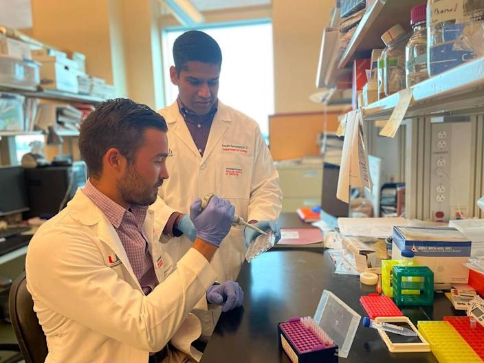 University of Miami Miller School medical student and the study's first author Daniel C. Gonzalez, left, and Dr. Ranjith Ramasamy, the study's principal lead investigator.