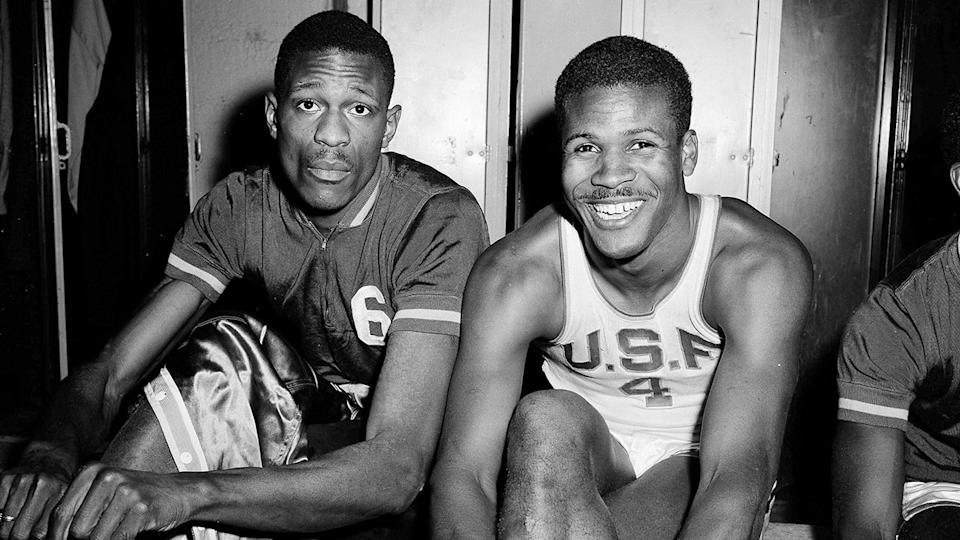 K.C. Jones (right) is seen in this photo in 1956 with University of San Francisco Dons teammate Bill Russell. Pic: AAP
