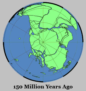 Antarctica and the Gondwana supercontinent, 150 million years ago.