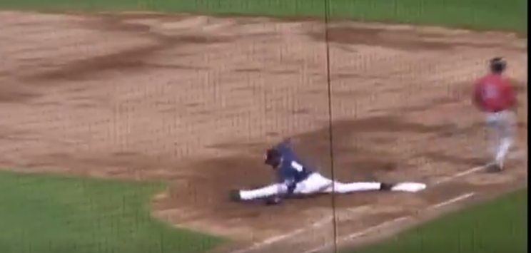 Emilio Guerrero lunges to catch a ball during a Double-A baseball game in New Hampshire Monday night. (NH Fisher Cats/Twitter).