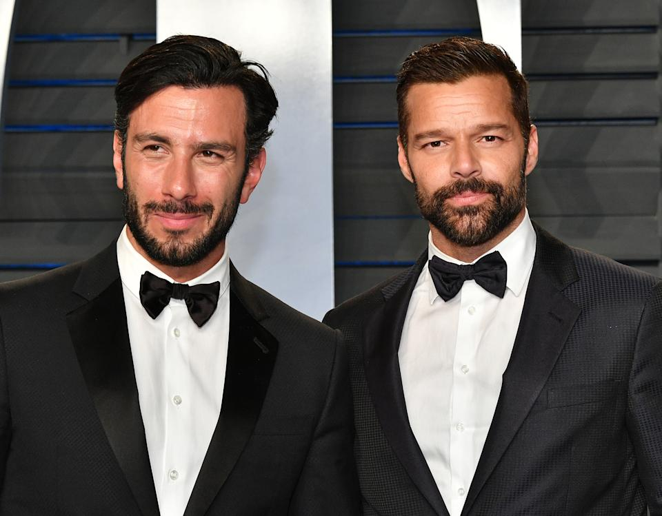BEVERLY HILLS, CA - MARCH 04:  Jwan Yosef (L) and Ricky Martin attend the 2018 Vanity Fair Oscar Party hosted by Radhika Jones at Wallis Annenberg Center for the Performing Arts on March 4, 2018 in Beverly Hills, California.  (Photo by Dia Dipasupil/Getty Images)