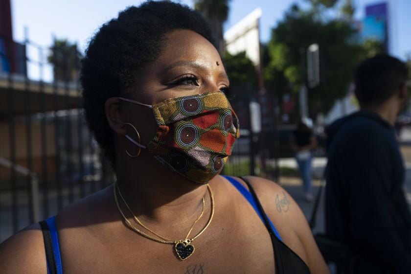 HOLLYWOOD, CA JUNE 7, 2020: Patrisse Cullors is one of the three co-founders of the Black Lives Matter movement. She participated in the peaceful march in Hollywood, CA today Sunday June 7, 2020. Thousands of people participated in today's peaceful protest against police sparked by the death of George Floyd. (Francine Orr/ Los Angeles Times)