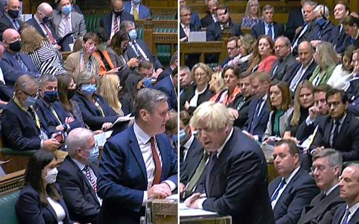 Labour MPs, left, wearing masks while Tory MPs, right, do not - PA/House of Commons
