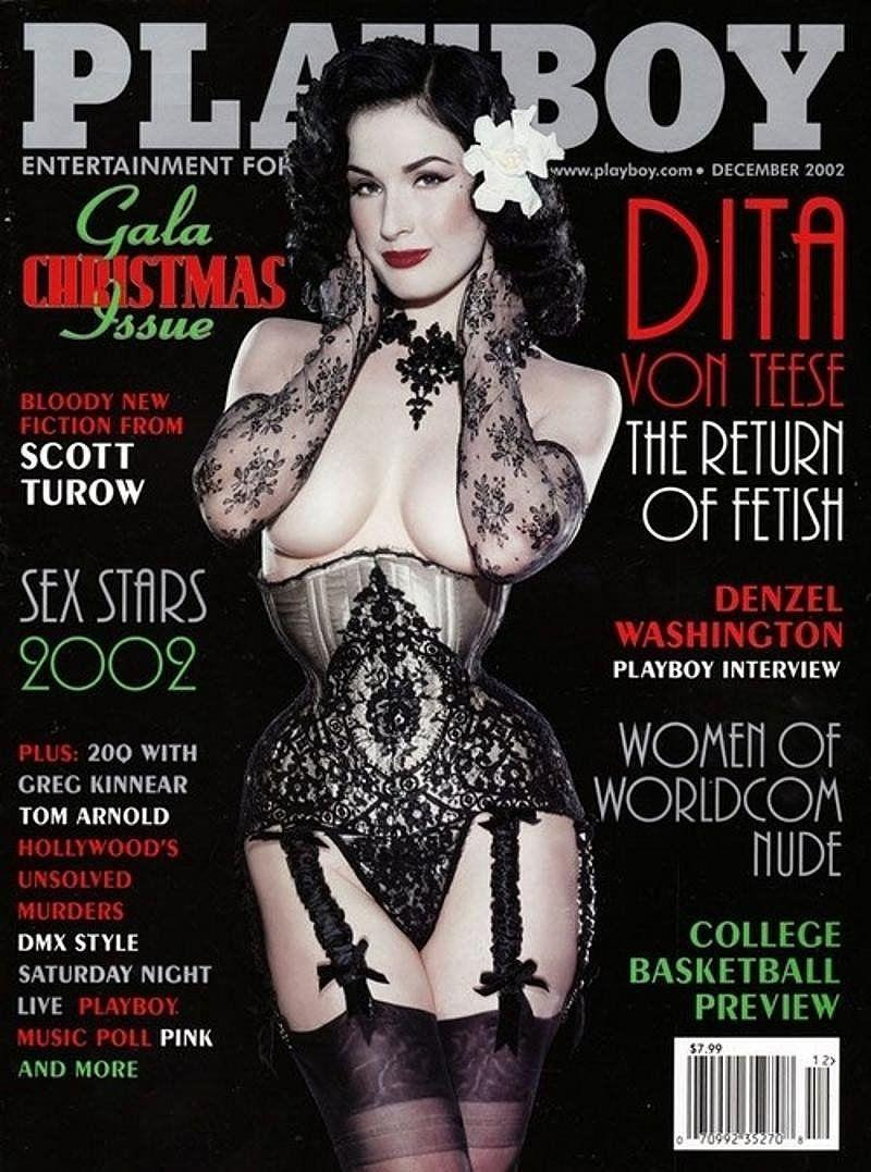 <p><strong>Issue: </strong>December 2002</p><p>Burlesque queen Dita Von Teese went full pin-up for the December 2002 issue. </p>
