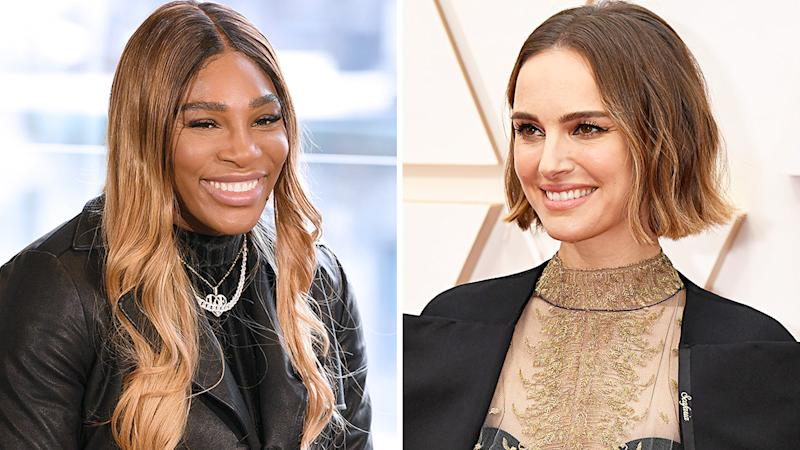 A 50-50 split image shows Serena Williams on the left and Natalie Portman on the right.