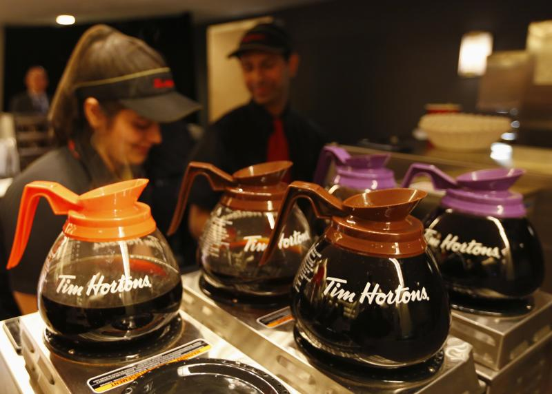 Tim Hortons employees prepare coffee before the company's annual general meeting in Toronto
