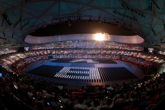 BEIJING - AUGUST 08:  The countdown begins during the Opening Ceremony for the 2008 Beijing Summer Olympics at the National Stadium on August 8, 2008 in Beijing, China.  (Photo by Adam Pretty/Getty Images)