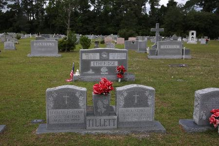 Tombstones of Tillett, Etheridge and Daniels family members are seen at a cemetery in Wanchese, North Carolina, May 31, 2017. Picture taken May 31, 2017.    REUTERS/Shannon Stapleton