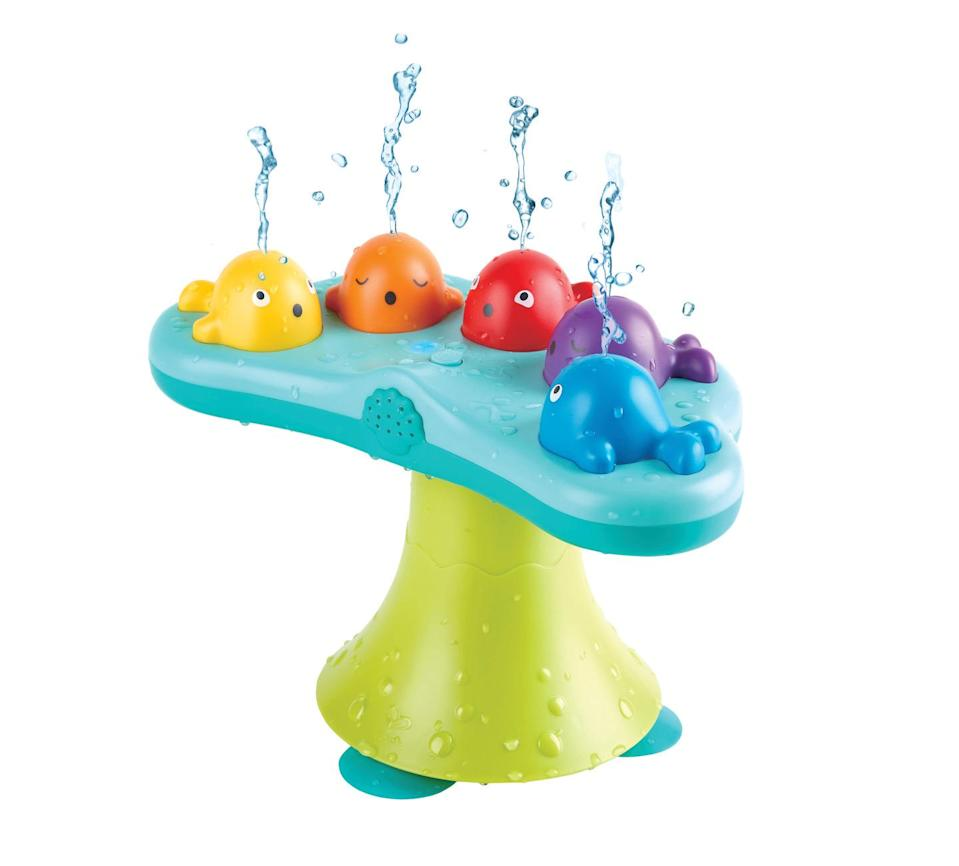"<p>Some toys have water. Some toys have music. This one has both! Kids can press each of the colored whales to play this like a piano, or put it in fountain mode and listen as it plays and spouts water at different heights. This can be used in the bath or in a kiddie pool — it has suction cups on the bottom to keep it in place.</p><p><em>Ages 18 months+<br>$35<br>Available Spring 2021<a href=""https://www.hape.com/uk/en/toy/musical-whale-fountain/e0218"" rel=""nofollow noopener"" target=""_blank"" data-ylk=""slk:More Information"" class=""link rapid-noclick-resp""><br>More Information</a></em></p>"