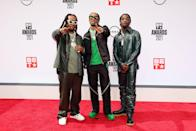 The rap trio has never shied away from wearing print or colors and they hit the red carpet in Bottega Veneta outfits with leather galore. (Of course, some coveted Air Jordan 4s also made the lineup.)