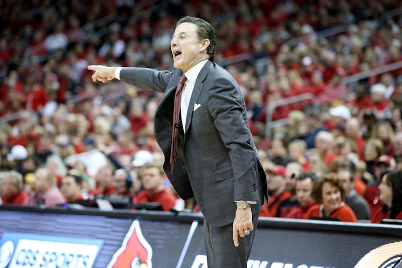 Louisville basketball coach Rick Pitino was