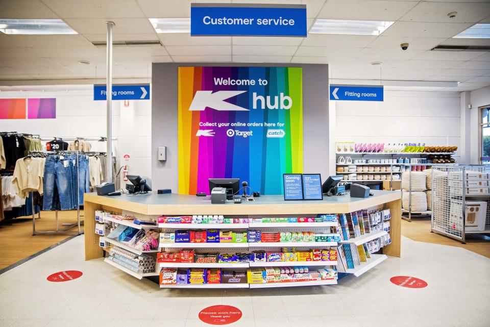 Inside of new K hub store, which will sell products from Kmart, Target and Catch.