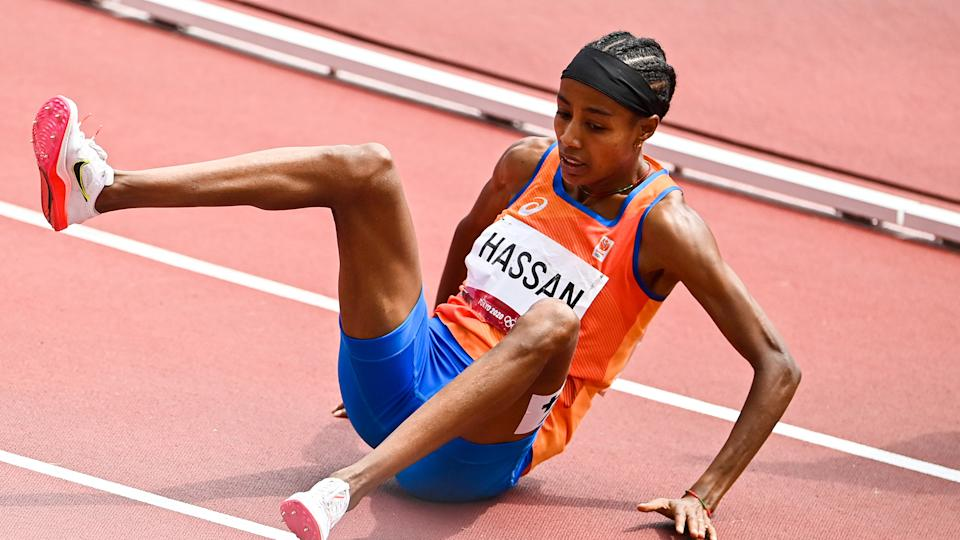 Sifan Hassan of the Netherlands falls while competing in the women's 1500m. (Photo by Andy Astfalck/BSR Agency/Getty Images)