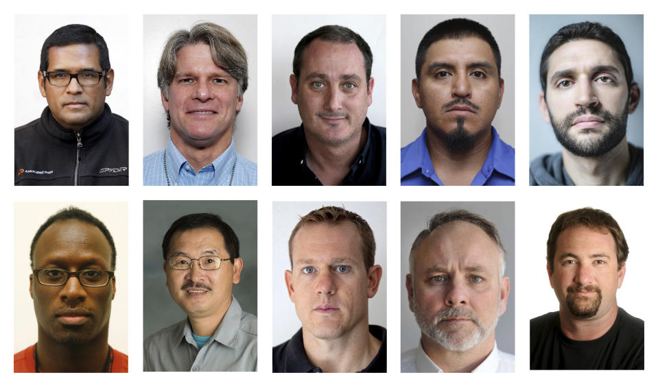 This combination of photos shows Associated Press photographers, top row from left, Marcio Jose Sanchez, Alex Brandon, David Goldman, Julio Cortez and John Minchillo. Bottom row from left, Frank Franklin II, Ringo H. W. Chiu, Evan Vucci, Mike Stewart and Noah Berger. The group was part of an AP team that won the 2021 Pulitzer Prize for breaking news photography. (AP Photo)