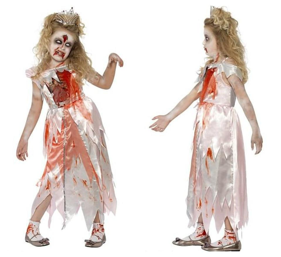 The zombie princess costume appeared on the Party Pieces website but was removed after the backlash.