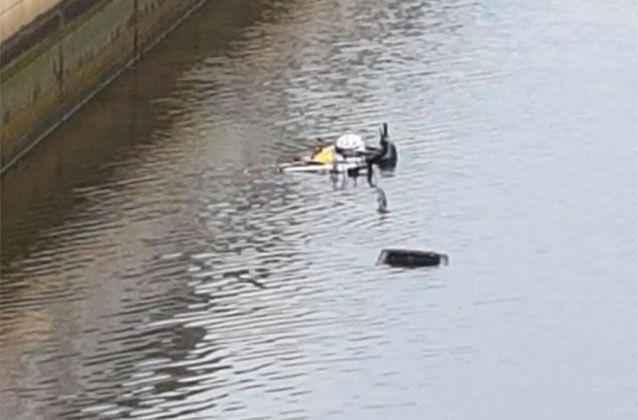 A bike was thrown into the Yarra River but was later removed. Trish Kelp/Picture: Facebook