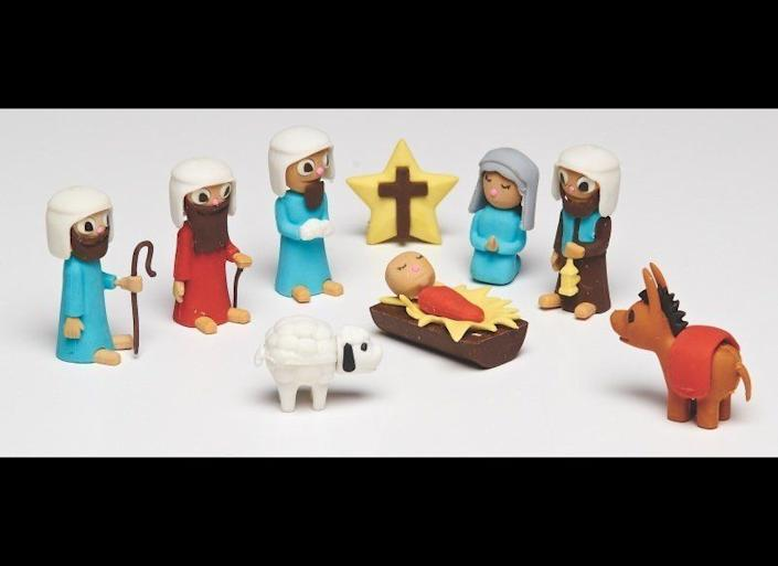 """A <a href=""""http://www.word.com.au/Nativity-Puzzle-Erasers/Stationery/615122120026"""" target=""""_blank"""">nativity-themed puzzle eraser set </a>may seem bizarre but Oestreicher points out that Christians believe Jesus came to Earth to erase people's sins."""