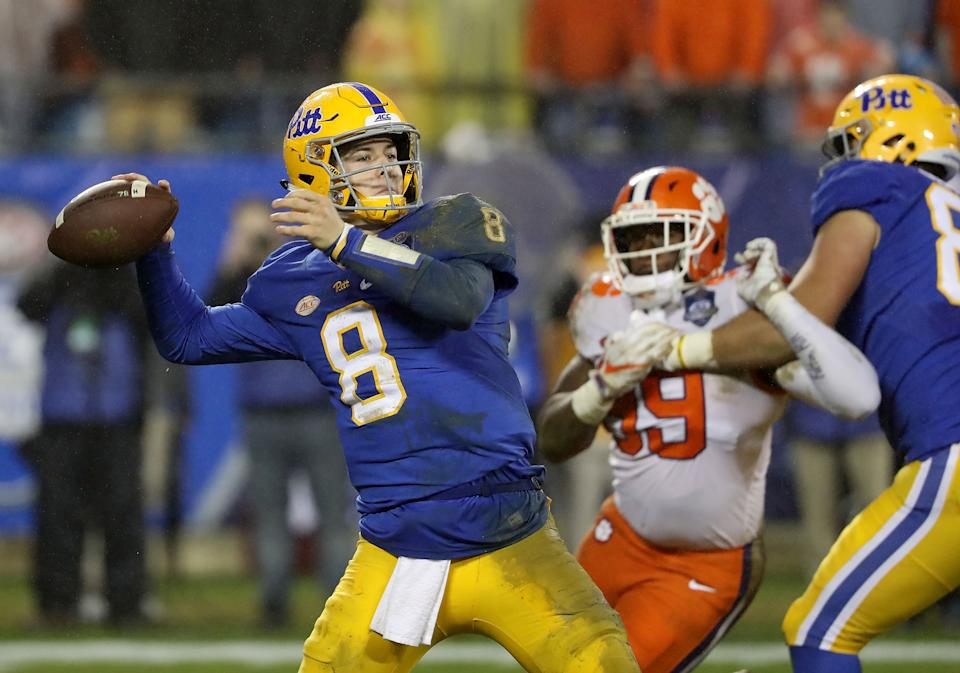 CHARLOTTE, NC - DECEMBER 01:  Kenny Pickett #8 of the Pittsburgh Panthers drops back to pass against the Clemson Tigers during their game at Bank of America Stadium on December 1, 2018 in Charlotte, North Carolina.  (Photo by Streeter Lecka/Getty Images)