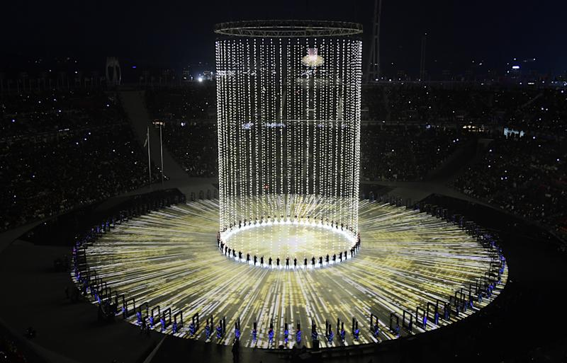 Watch 1218 drones form the Olympic rings during Opening Ceremony