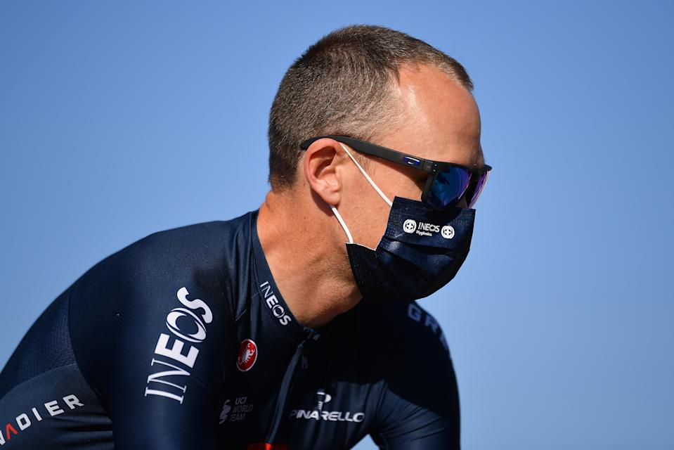 SATURNIA, ITALY - SEPTEMBER 09: Start / Chris Froome of The United Kingdom and Team INEOS Grenadiers / Mask / Covid safety measures / during the 55th Tirreno-Adriatico 2020, Stage 3 a 217km stage from Follonica to Saturnia 294m / @TirrenAdriatico / on September 09, 2020 in Saturnia, Italy. (Photo by Justin Setterfield/Getty Images)